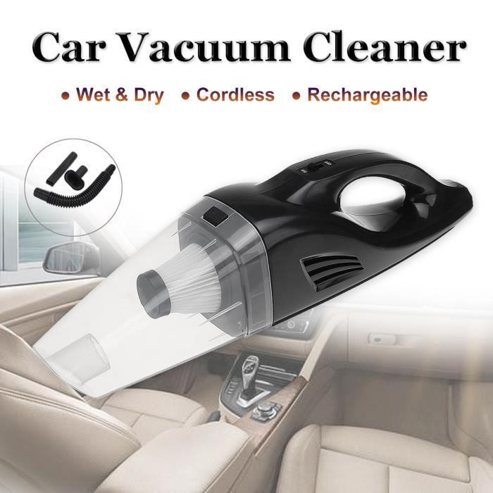 12V 100W Aspirateur de Voiture sans Fil Portable avec Buse de Brosse 4200 Pa ABS Haute Puissance Sec Humide