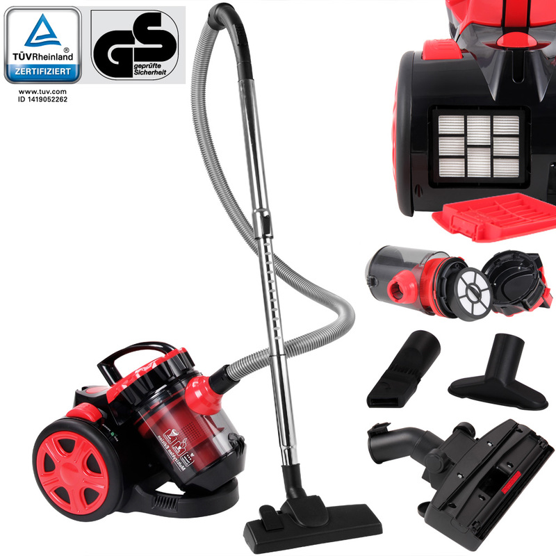 Aspirateur sans sac rouge max.900 Watt - ECO Power - Multicyclone Brosse 2 en 1