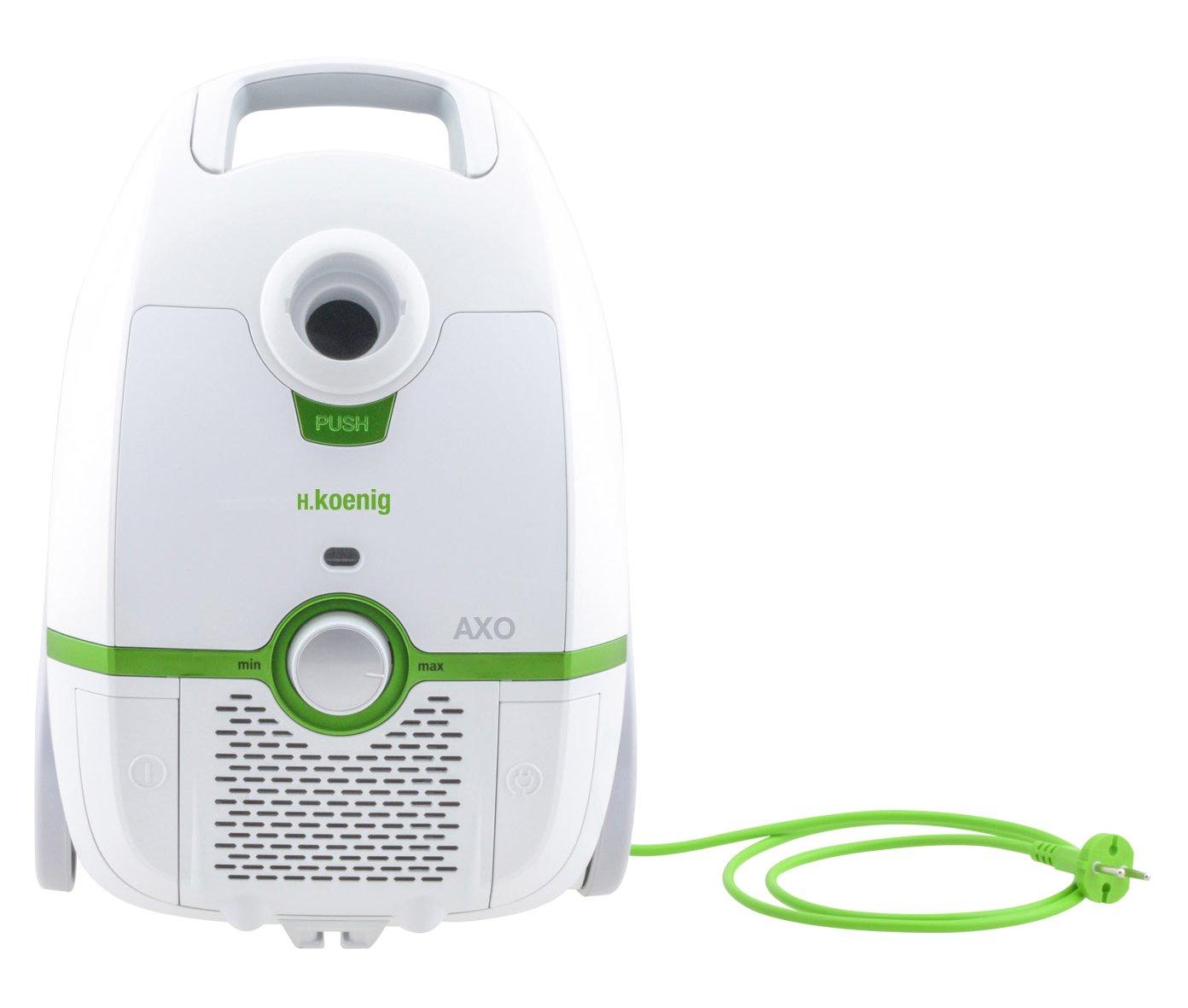 H.Koenig AXO700 Aspirateur avec sac traineau blanc 3L, classe énergétique AAA, filtre HEPA H12, Silencieux, Puissant, Efficace, Compact, brosse poussière et suceur plat inclus, tapis et sols durs
