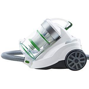 H.Koenig AXO900 Aspirateur sans sac multicyclonique traineau blanc, classe énergétique AAA, Silencieux, Puissant, Efficace, pour tapis et sols durs, inclus brosse poussière et suceur plat
