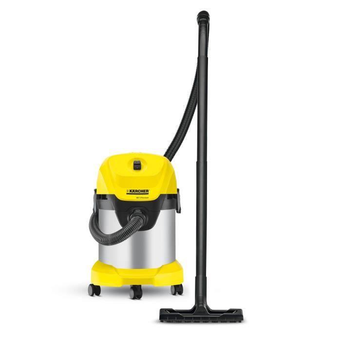 KÄRCHER Aspirateur eau-poussière WD 3 Premium - Fonction soufflerie - Cuve inox 17 L - 1000 W - Gris et jaune