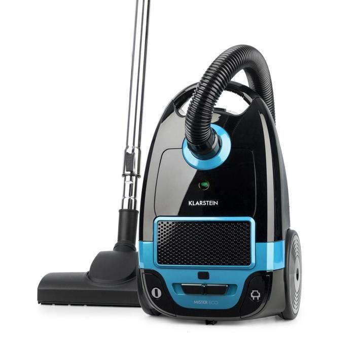 Klarstein Mister Eco Aspirateur traineau hypoallergénique 450W avec filtre HEPA 13 - roulettes 360° - classe A++ - noir & bleu